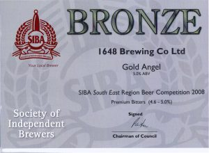 Gold Angel won SIBA South East Bronze for Premium Bitter 2008.